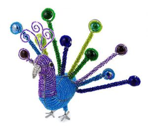 beaded peacock, peacock figurine