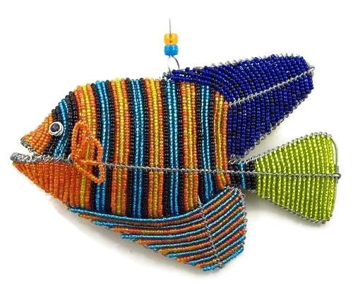royal angelfish figurine, beaded fish