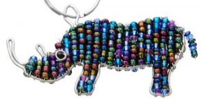beaded rhino key chain, beaded rhino keyring, rhino key chain, rhino keyring