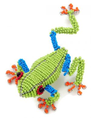 beaded tree frog, tree frog figurine