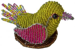 beaded bird, bird in nest figurine