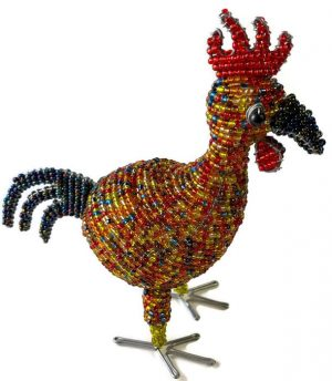 beaded rooster, rooster figurine
