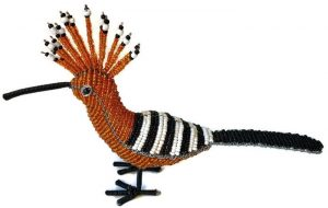 hoopoe figurine, beaded hoopoe