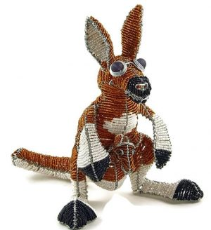 beaded kangaroo, kangaroo figurine