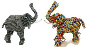 beaded elephant, beaded African elephant