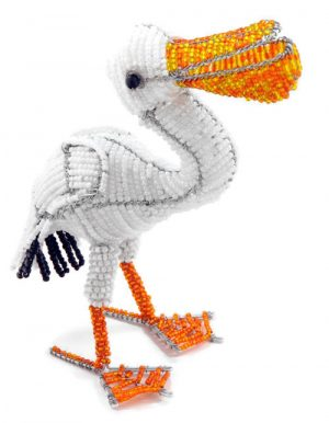 beaded pelican, pelican figurine