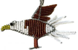 bald eagle key chain, beaded eagle keyring