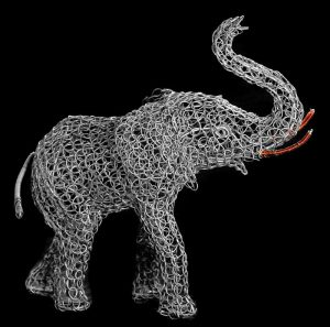 wire elephant, metal elephant