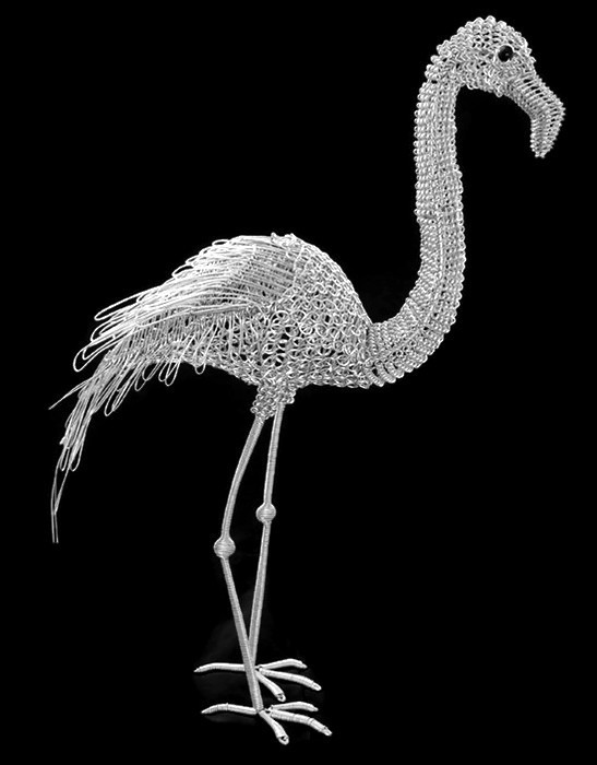 wire flamingo, metal flamingo