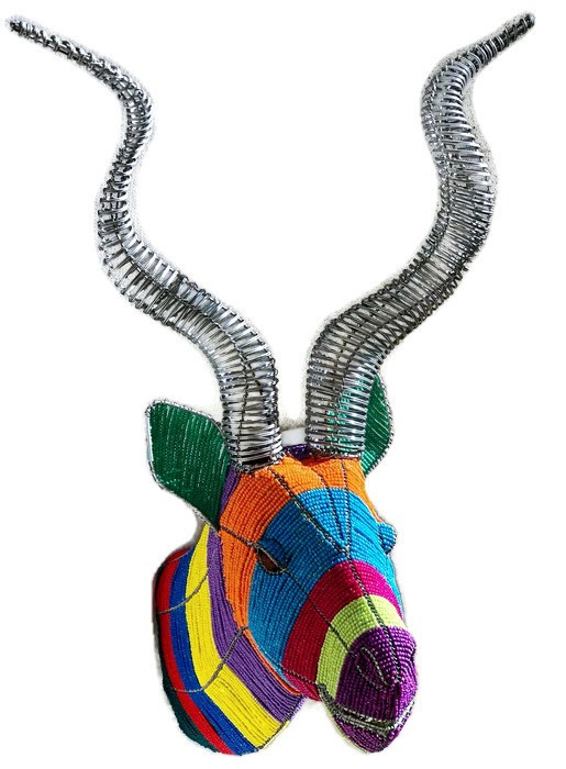 beaded kudu head