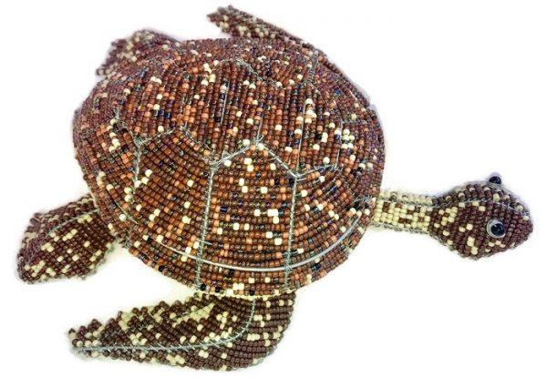 beaded sea turtle, sea turtle figurine, green sea turtle figurine