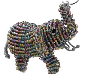 beaded elephant key chain, beaded elephant keychain, African elephant key chain, beaded elephant keyring