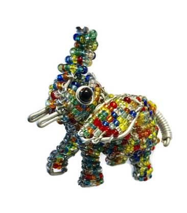 beaded elephant key chain, beaded elephant keychain, beaded elephant keyring