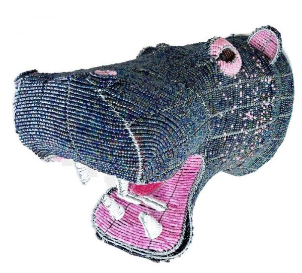 beaded hippo head, hippo trophy head, hippo mount