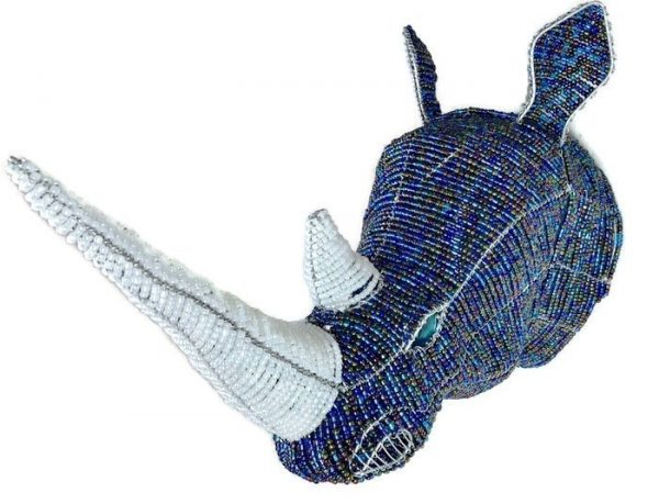 beaded rhino trophy head, beaded rhino, rhino trophy head